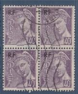 = Bloc De 4 Timbres Type Mercure Postes Françaises Surchargé RF Oblitéré N°659 Le 40c Violet - 1938-42 Mercurio