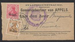 Guerre 14-18 - OC29 Et 30 Sur Bande Imprimée (Appels) + Obl Postüberwachungsstelle N°33 C Vers Hamme + Censure Violette - Guerre 14-18