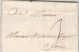 Lettre Sans Marque Postale Taxe Manuscrite 1 D' Aix  Bouches Du Rhône 29/1/1739 à Gordes Vaucluse - 1701-1800: Précurseurs XVIII