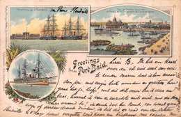 GREETINGS FROM PORT SAID - POSTED IN 1897 ~ AN EARLY 1890's -1901 VINTAGE POSTCARD  #21334 - Port Said