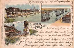 GREETINGS FROM PORT SAID - POSTED IN 1897 ~ AN EARLY 1890's -1901 VINTAGE POSTCARD  #21335 - Port Said