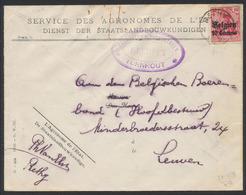 """Guerre 14-18 - OC3 Sur Lettre Obl Simple Cercle """"Rethy"""" + Censure De Turnhout Vers Leuven / L'agronome De L'état - WW I"""