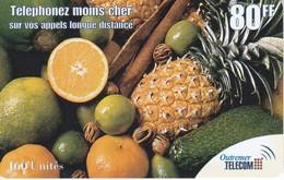 TARJETA DE ANTILLAS FRANCESAS DE 80 FF DE FRUTAS (OUTREMER TELECOM) - Antillas (Francesas)