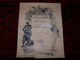Certificat De Bonne Conduite 5e Régiment De Génie ..18 OCT 1920 ... Déchirures Mais Pas De Manque....  Voir Autre Diplôm - Documentos