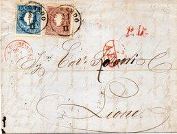 """AUTRICHE : N° 15 . N° 16 . DE """" ROVEREDO . POUR LA FRANCE . VIA FELDKIRCH . 1859 . - 1850-1918 Impero"""