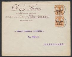 """Guerre 14-18 - OC13 En Paire Sur Lettre """"Manufacture De Lingeries"""" Expédié De Brussel (1918) Vers La Ville. - [OC1/25] Gouv. Gén."""