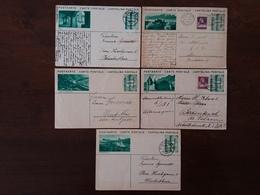 SVIZZERA - 5 Cartoline Postali Anni '30 Con Vedute - Viaggiate + Spese Postali - Interi Postali