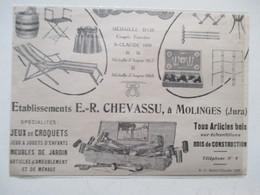 MOLINGES (Jura)  Boite De Jeux De Croquet  Ets ER CHEVASSU - Coupure De Presse De 1925 - Jouets Anciens