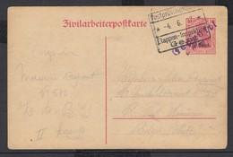 """EP Au Type 10ctm Rouge """"Zivilarbeiterpofkarte"""" Annulé Par Griffe Mauve Gepruft + Grand Cachet """"Etappen-Inspection / Gent - WW I"""