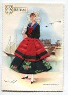 Carte BRODEE Tissée 617 Bretagne Costume De SAINT ST MALO Jeune Femme Quai Port   Robe Tissu Véritable   Broderie - Ricamate
