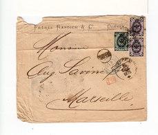 Sur Env. Pour Marseille 3 T. Empire Russe Armoiries. CAD Odessa 1875. PD Rouge. C. D'entrée Bleu Erquelines. (2504x) - 1857-1916 Impero