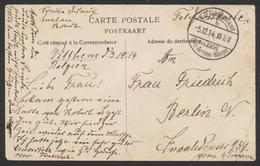 """Guerre 14-18 - CP En Feldpost De Pitthem (1914) + Cachet à Pont """"K.D. Feldpostamt / Des XXVL Des Armées-Korps"""" > Berlin - Armée Allemande"""