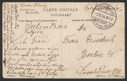 "Guerre 14-18 - CP En Feldpost De Pitthem (1914) + Cachet à Pont ""K.D. Feldpostamt / Des XXVL Des Armées-Korps"" > Berlin - WW I"