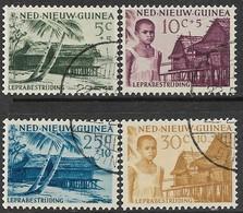 Netherlands New Guinea  1956  Sc#B7-10 Charity Set  Used   2016 Scott Value $3.20 - Niederländisch-Neuguinea