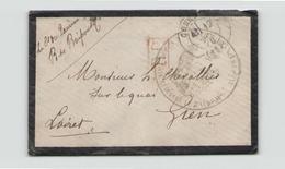 Enveloppe De 1870 Pour Gien  Port Payé Cachet Militaire Garde Côte Cuirassé Le Ta??? - 1876-1878 Sage (Tipo I)