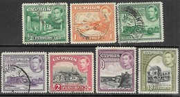 Cyprus  1938-51  7 Diff Used To The 18pia  2016 Scott Value $5.85 - Cyprus (...-1960)