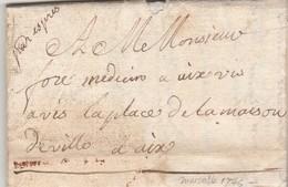 Lettre Sans Marque Postale PAR EXPRES  MARSEILLE Bouches Du Rhône 11/6/1746 à Aix - 1701-1800: Vorläufer XVIII