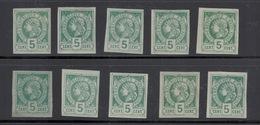 Haïti. Liberty Head Non Dentelés. 5c Vert.10 Exemplaires. Nuances.TTB/SUP (voir Les Scans) - Haïti