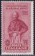 ITALIA 1932 Garibaldi L.5 + L.1 Rosso Bruno Nuovo TL - 1850-68 Regno: Isabella II