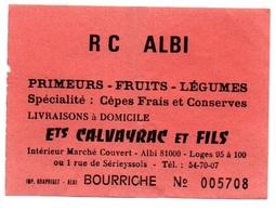 Ticket D'entrée N°005708 R C Albi Bourriche - Tickets D'entrée