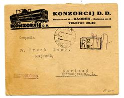 Konzorcij D.d., Zagreb Illustrated Company Letter Cover Posted Registerd 1923 To Novi Sad B200110 - Croatie