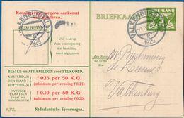 Netherlands 1929 Nederlandse Spoorwegen Kennisgeving Kaart Lebeau 3 C. Lokaal Valkenburg-2, 8 IV.1929 - 2006.1303 - 1891-1948 (Wilhelmine)