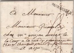 Lettre Marque Postale MARSEILLE Bouches Du Rhône 17/8/1762 à Aix - Marcofilie (Brieven)