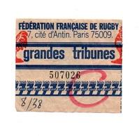 Ticket D'entrée N°507026 Fédération Française De Rugby Grands Tribunes Avec Publicité Télé 7 Jours - Tickets D'entrée