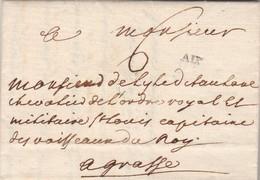 Lettre Marque Postale AIX Bouches Du Rhône 5/12/1767 Pour Capitaine De Vaisseau Du Roy à Grasse - Marcofilie (Brieven)