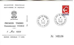 SAINT-PIERRE ET MIQUELON MI-NR. 772 FDC EINFÜHRUNG DES EURO 1999 - FDC
