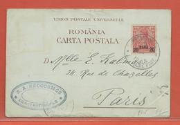 LEVANT ALLEMAND CARTE POSTALE AFFRANCHIE DE CONSTANTINOPLE DE 1901 POUR PARIS FRANCE (PLI) - Offices: Turkish Empire