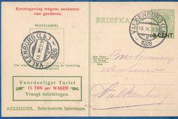 Netherlands 1929 Nederlandse Spoorwegen Kennisgeving Kaart Veth 3 C. Lokaal Valkenburg-2, 13.X.1929 - 2006.1305 - 1891-1948 (Wilhelmine)