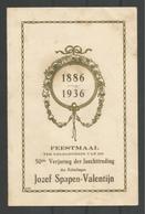 Menu. Feestmaal Gouden Bruiloft 1936  Merxem J.Sapen-Valentijn - Menus