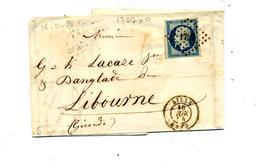 Lettre Cachet Losange  Lille Sur Napoleon + Paris - Marcophilie (Lettres)