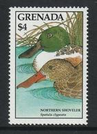 GRENADA 1988 Definitives/Birds/Common Or Northern Shoveler $4.00: Single Stamp UM/MNH - Grenada (1974-...)