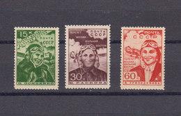 Russie URSS 1939 Yvert 705 / 707 ** Neufs Sans Charniere. Raid Aerien Feminin. (2135t) - Unused Stamps