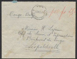 Guerre 40-45 - Lettre Expédié De ? Vers Chef Du Service D'information à Léopoldville + Censure Du Congo /Taxe à La Craie - 1923-44: Covers