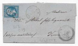 ALPES MARITIMES  Lettre GILETTE (87) GC 1652 CAD Type 22 Coéf 21 - Marcophilie (Lettres)