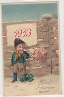 1913 - Garçon Avec Cochon - Carte Gaufrée - 1912     (A-180-190927) - Anno Nuovo
