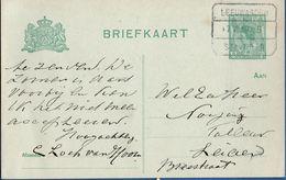 Netherlands 1919 Spoor Blokstempel Leeuwarden Stavoren, 7.7.17 B, 5 Ct Bontkraag Briefkaart Naar Leiden - 2006.1309 - Periode 1891-1948 (Wilhelmina)