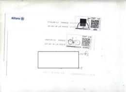 Lettre Flamme Chiffree Sous Code Sur Timbre En Ligne Theme Velo - Marcophilie (Lettres)