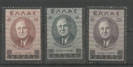 Greece 1945 Roosvelt Funeral Issue MNH** - Greece