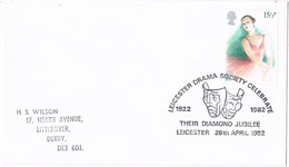 35761. Carta LEICESTER (England) 1982. Theater, Teatro, Drama Society - 1952-.... (Elizabeth II)
