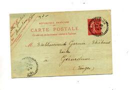 Carte Postale 10 C Semeuse Cachet Perlé Beaulieu - Biglietto Postale