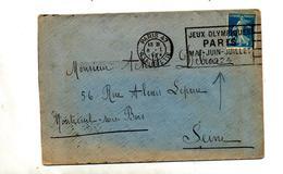 Lettre Flamme Paris 47 Jeu Olympique - Marcophilie (Lettres)