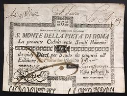SACRO MONTE DI PIETA' ROMA 01 08 1796 6 SCUDI  R2 Spl LOTTO 1539 - Italien