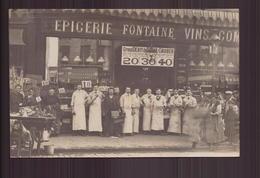 CARTE PHOTO DU PERSONNELS DE L EPICERIE FONTAINE VIN PUB BIERE GRUBER - Fotografie