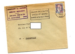 Lettre Flamme Lille Salon Auto Moto - Mechanical Postmarks (Advertisement)