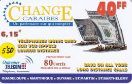 TARJETA DE ANTILLAS FRANCESAS DE 40 FF DE CHANGE CARAIBES - BANKNOTE (OUTREMER TELECOM) - Antillas (Francesas)
