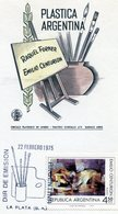 RAQUEL FORNER EMILIO CENTURION PLASTICA ARGENTINA 1975 TARJETA / CARD OBLITERATED FDC LA PLATA - NTVG. - Otros